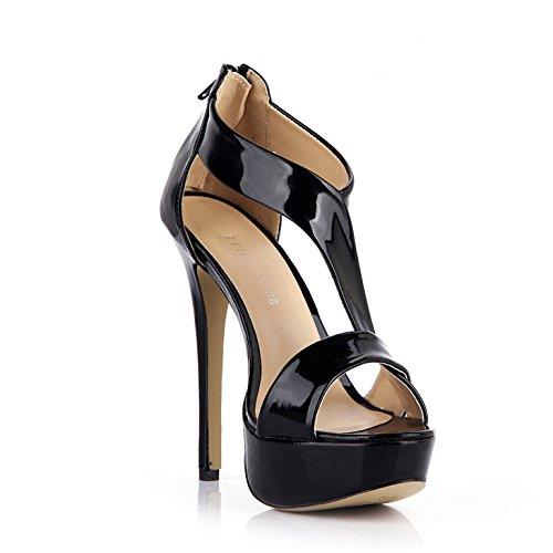 New Female sandals nightclubs female waterproof varnished leather black one high-heel shoes Black R1ztem
