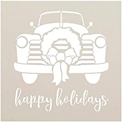"""Happy Holidays - Truck with Wreath - by StudioR12 