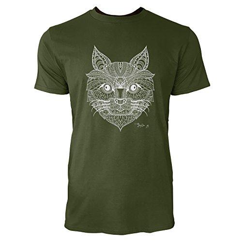 SINUS ART® Katzenkopf mit Ornamenten Herren T-Shirts in Armee Grün Fun Shirt mit tollen Aufdruck
