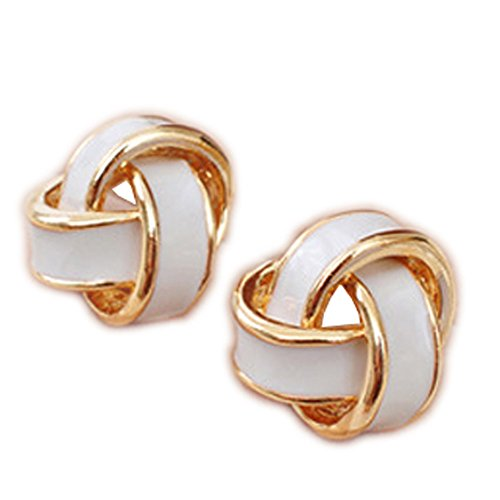Latigerf Fashion Jewelry Gold Plated Women's Flower Screw Back Non-Pierced Clip on Earring Clips for non pierced ears for Girl White ()