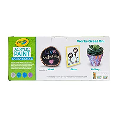 Crayola Paint Set in Ocean Colors, Multi-Surface Craft Paints, Painting Supplies, Stocking Stuffers, 4ct: Toys & Games