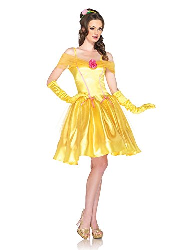 Leg Avenue Disney Princess Belle Dress Costume, Yellow, (Belle Disney Adult Costume)