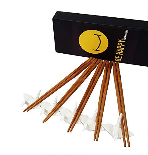 Happy Sales 5 piece Crane Chopstick Set w/Rests WHT