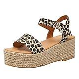 Women's Espadrille Platform Sandals Adjustable Ankle Strap Buckle Wedges Woven Peep Toe Sandals Roman Shoes