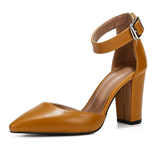 - Women's Elegant D'Orsay Ankle Strap Pointed Toe Pumps Block Chunky High Heel Shoes Brown PU-38(240/US7)