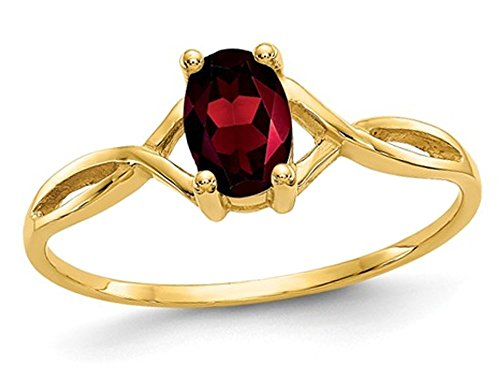 (14K Yellow Gold Solitaire Garnet Ring 0.60 Carats (ctw))