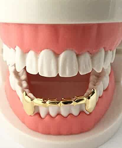 Hip Hop 14K Gold Plated Half Lower Bottom Fangs Teeth Grillz w Mold Kit