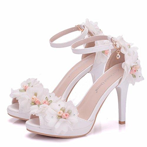 Moda Blancas Sandalias Mujer con Finas Tac Zapatos de TwO8qxz