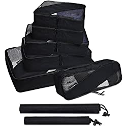 Zoppen 6 Set Packing Cubes (Large, Medium, Small and Slim) - Travel Luggage Organizer with Laundry Bag and Shoe Bag, Black
