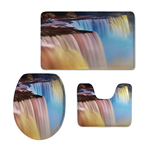 iPrint Fashion 3D Baseball Printed,Waterfall,Niagara Falls Colorful Cascade Stream at Night View Waterfall Scenic Picture,Multicolor,U-Shaped Toilet Mat+Area Rug+Toilet Lid Covers 3PCS/Set -