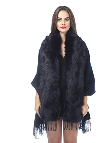 Faux Fur Shawl Wrap Stole Shrug Bridal Winter Wedding Woman Cashmere Wool Scarf For Bridal Party and Wedding(PC-Navy)