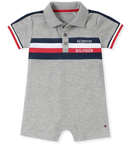 Tommy Hilfiger Baby Boys Romper, Light Gray Heather 6-9 Months