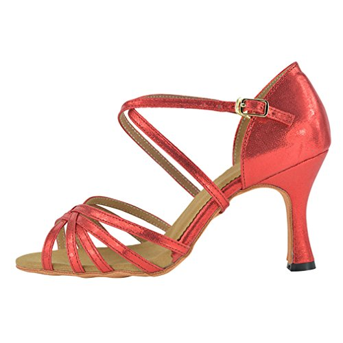 BYLE Sandalias de Cuero Tobillo Modern Jazz Samba Zapatos de Baile Zapatos de Baile Latino América Zapatos de Baile Hembra Adulta Fondo Blando de Tacón Alto PU Rojo de Alta 8,5 cm 35