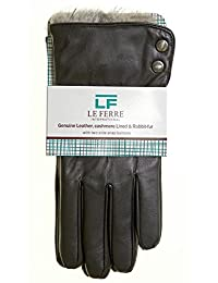 Men's Luxurious Genuine Leather with Cashmere Lined & Rabbit Fur Gloves With 2 Side Snap Buttons, Size Medium