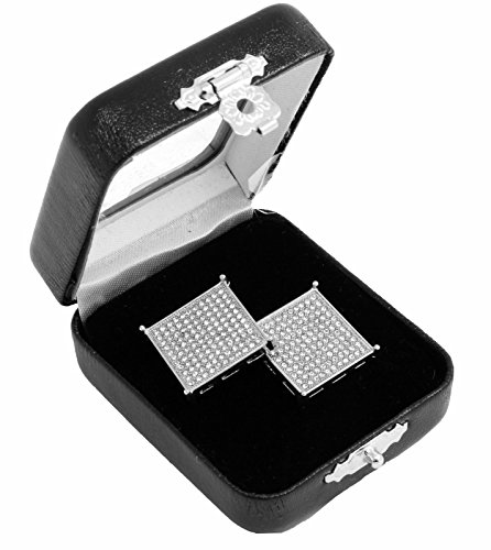 Men's Silver Hip Hop Iced Out Large Square Flat Screen Block Screw Back Stud Earring