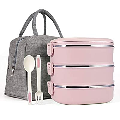 Mr.Dakai Stackable Bento Lunch Box for Kids/Adults, 3 Tier Insulated Stainless Steel Leakproof Food Container with 600D Oxford washable Lunch Bag and Fork & Spoon, BPA Free - Pink: Kitchen & Dining