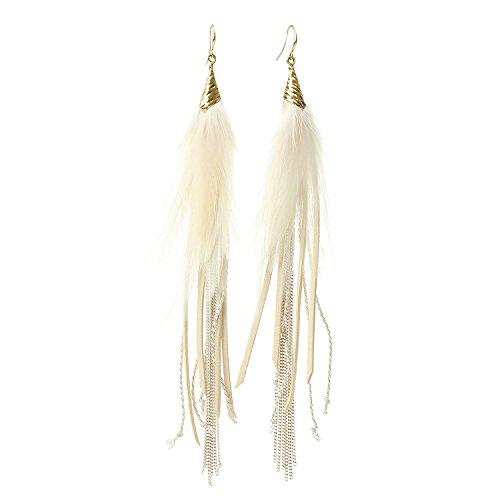Badu Women Feather Earrings Long Tassel Bohemian Jewelry