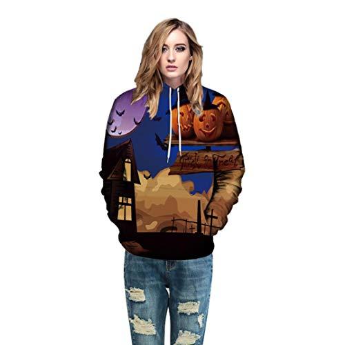 Price comparison product image Men Women Mode 3D Print Castle Pumkin Long Sleeve Halloween Hoodies Top Blouse T Shirts