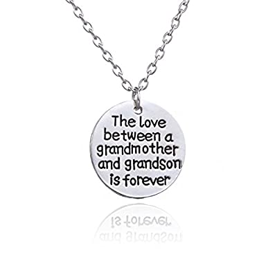 The Love Between a Grandmother and Grandson is Forever Pendant Necklace Family Women Boy Gift Christmas