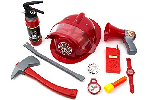 Toysery Fireman Costume for Kids - 10 Piece Firefighter Role Play Kit with Fire Extinguisher Helmet and Other Accessories for Boys and Girls ()
