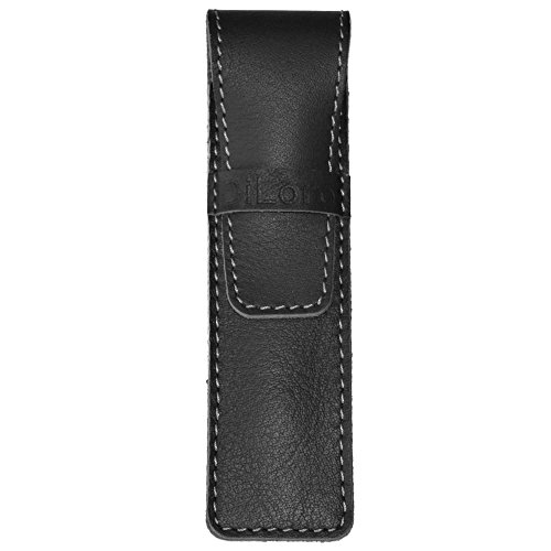- DiLoro Full Grain Top Quality Genuine Leather Single Pen Case Holder Sleeve Pouch in Black