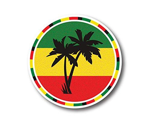 Jamaica Rasta Palm Tree Vinyl Stickers 2 Pack 4 Inch
