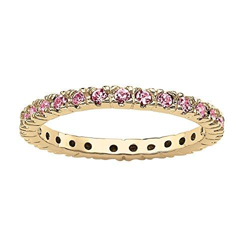 Seta Jewelry Simulated Birthstone 18k Gold-Plated Eternity Band - June - Simulated -