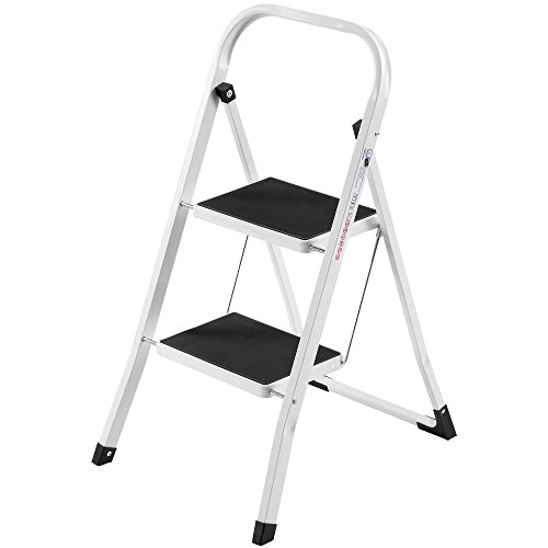 VonHaus Steel 2 Step Ladder Folding Portable Stool with 330lbs Capacity - Lightweight and Sturdy, White, 2 Step by VonHaus (Image #7)