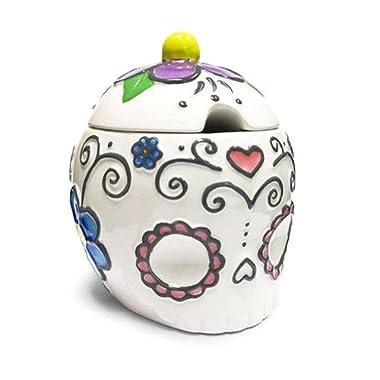 Ceramic Sugar Skull Sugar Bowl with Hearts & Flowers-4.5