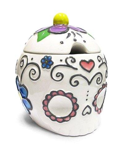 Flower Sugar Bowl (Ceramic Sugar Skull Sugar Bowl with Hearts & Flowers-4.5