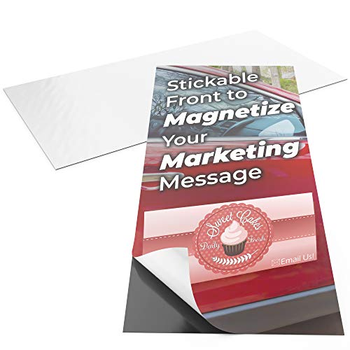 Pro-Grade 12x24 Inch Adhesive Magnets 2pk. XL Blank Peel-and-Stick Magnetizers for Large Bumper Stickers, Art Decals, Posters or Ads. Strong, Flexible Car or Fridge Magnets for Schools and Businesses (Magnetic Business Card Calendars Magnets)
