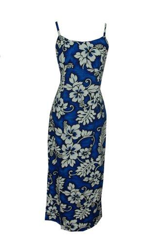 Jade Fashions Inc. Women Hawaiian Cotton Long White Hibiscus Navy Spaghetti Dress-Navy-3XL