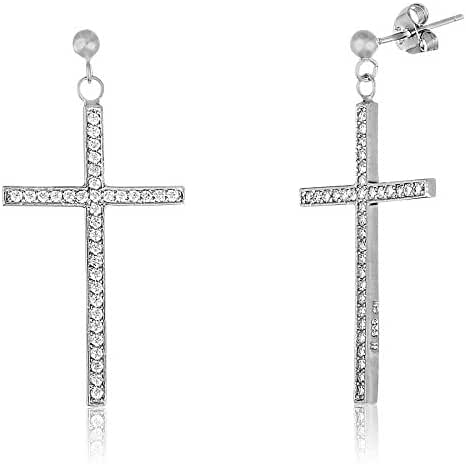 SUPER SALE 18K White Gold Over Sterling Silver Pave Cubic Zirconia Cross Hinge Huggie Hoop Earring