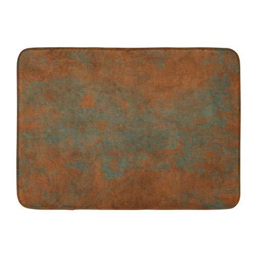 (Emvency Doormats Bath Rugs Outdoor/Indoor Door Mat Brown Aged Brass Copper Bronze Light Green Patina and Empty Place Orange Wall Bathroom Decor Rug 16