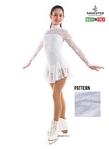 Sagester Style# 132/Hand-made in Italy/Long Sleeve Lace Dress for Figure Skating, Ice Skating, Roller Skating/Size: S/Color White (Skating White)