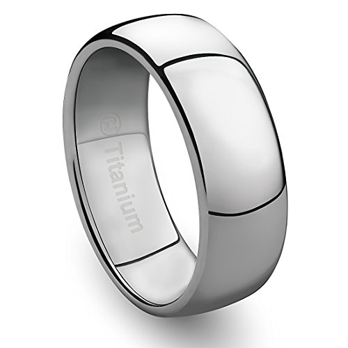 Cavalier Jewelers 8MM Mens Titanium Ring Classic Wedding Band with Polished Finish [Size 10.5]