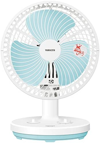 山善 18cm卓上扇風機 (ロータリースイッチ)(風量2段階) タイマー付 ホワイトブルー YDT-F182(WA)