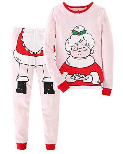Little Bitty Christmas girls'2 piece pajamas sleepwear set shirt&leggings infant baby toddler kid children soft cute,Pink,7-8YRS