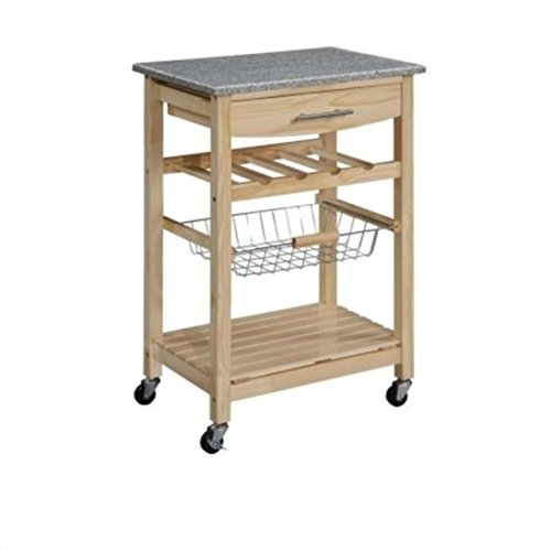 Granite Top Natural Kitchen Island Cart with 4-Bottle Wine Storage Rack by Linon Home Decor Products Inc (Image #1)