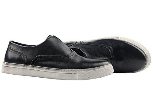 Santimon Heren Klassieke Sneaker Lederen Penny Loafers Instapper Zwart