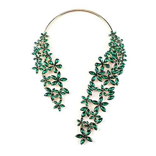 Cheap:cute NEW Spring Summer New Hot Fashion Jewelry Chunky Gem Crystal Flower Choker Necklace Single Shoulder Statement Necklace,blue ()