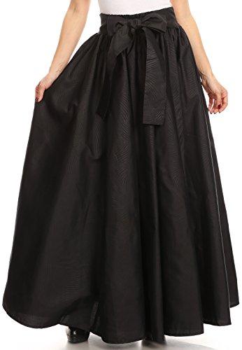Cotton Circle Skirt (Sakkas RC16317 - Sauda Maxi Long Full Circle Wax Cotton Skirt Casual Gorgeous Basic Boho - Black - OS)