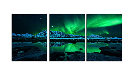Youk Art Blue Green Modern Aurora Borealis Iceland Jokulsarlon Northern Light Canvas Prints Picture Painting For Bathroom Wall Art Bedroom Living Room Decor Framed Ready to Hang