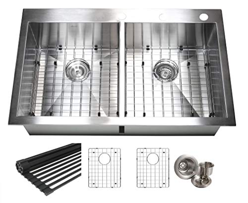 - Kingsman 36 Inch. (50/50) Zero Radius Design 16 Gauge Topmount Drop In Over the Counter Large Double Bowl 5050 Stainless Steel Kitchen Sink Premium Package Combo 36 INCH (50/50) KKR-FT3622-5050