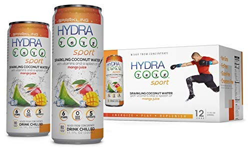 Hydra Coco Sparkling Sport Mango-100% Pure Coconut Water Drink w/Vitamins and Real Fruit | Best Natural Sports Drink with Electrolytes to Hydrate | Energy & Recovery | Gluten Free & Non GMO