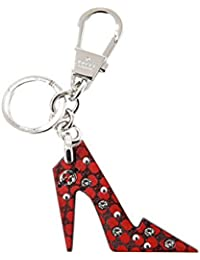 Donna Pelle Marrone Red Leather High Heel Key Ring Charm with Crystals 389052
