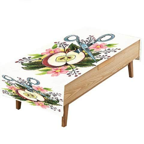 PINAFORE Polyester Table Cloth Art Scissors Apple Flower Leaves Imaginary Weird Farce Art Green Pink Kitchen Dinning Tabletop Decoration Hotel Cafe &More W50 x L80 INCH ()