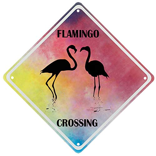 TISOSO Tin Signs Funny Flamingo Crossing Wall Decor Yard Sign & Outdoor Lawn Tropical Christmas Novelty Metal Home Office Girl's Bedroom Fun Kitchen Parking 12X12Inch