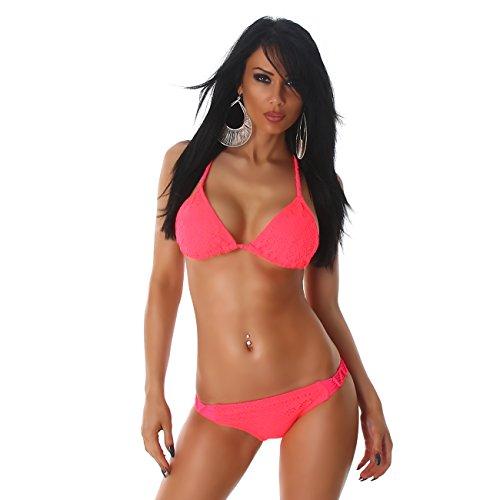 PF Bikini slittamento pezzi modello Salmone delle imbottiti all'uncinetto di due donne Swimsuit Top Halter Fashion il TxqvIdwvB