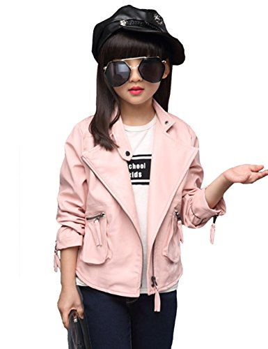 Girl Motorcycle Jackets (YJ.GWL Girls Fashion Diagonal Zipper Jacket Leather Side Pockets Outerwear Jacket)